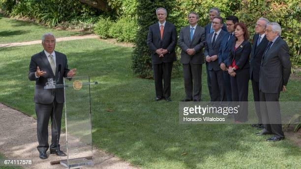 Portuguese Prime Minister Antonio Costa delivers remarks to the press after his encounter with the president of Banking Foundation 'La Caixa' Isidro...