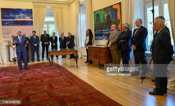 Portuguese Prime Minister Antonio Costa delivers remarks while presiding over the signature with representatives of civil associations of the...