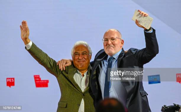 Portuguese Prime Minister Antonio Costa embraces with Frans Timmerman PES Common Candidate Designate to preside European Commission at the end of his...
