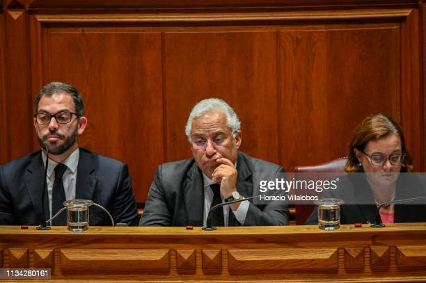 Portuguese Prime Minister Antonio Costa follows remarks delivered by parliamentarians during the session in which Portuguese Assembly of the Republic...