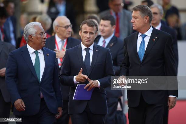Portuguese Prime Minister Antonio Costa French President Emmanuel Macron and Romanian Klaus Iohannis arrive for the first working session of leaders...