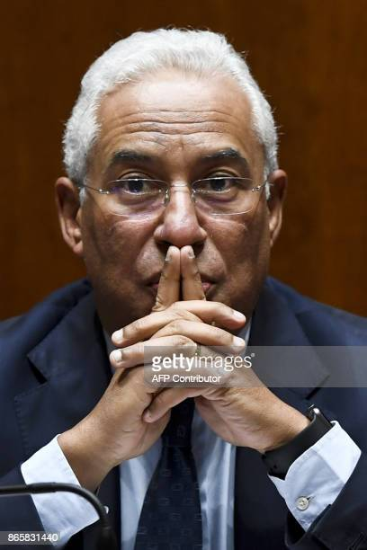 Portuguese Prime Minister Antonio Costa gestures during the debate of a censure motion tabled by the conservative CDSPP party at the Portuguese...