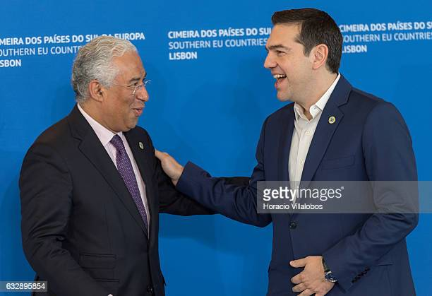 Portuguese Prime Minister Antonio Costa greets Greek Prime Minister Alexis Tsipras arriving to the Southern EU Countries Summit on January 28 2017 in...