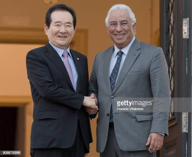 Portuguese Prime Minister Antonio Costa greets the Speaker of the National Assembly of the Republic of Korea Chung Syekyun at Prime Minister's office...