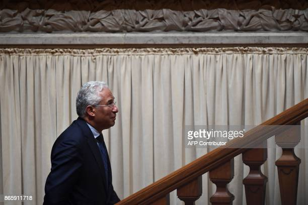 Portuguese Prime Minister Antonio Costa leaves after the voting of the censure motion tabled by the conservative party CDSPP at Portuguese Parliament...