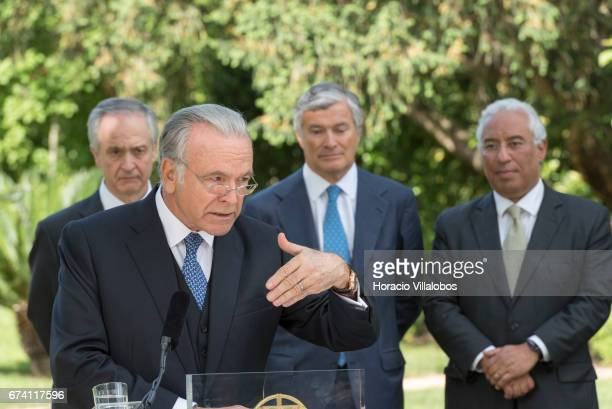 Portuguese Prime Minister Antonio Costa listens to the president of Banking Foundation 'La Caixa' Isidro Faine during a meeting with the press at the...