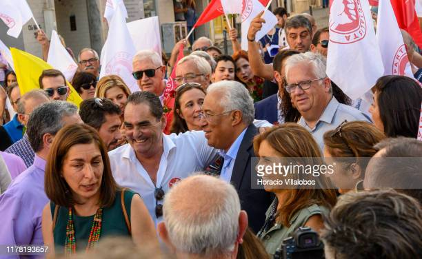Portuguese Prime Minister Antonio Costa meets supporters accompanied by his wife Fernanda Maria Gonçalves Tadeu along Rua Cândido dos Reis as he...