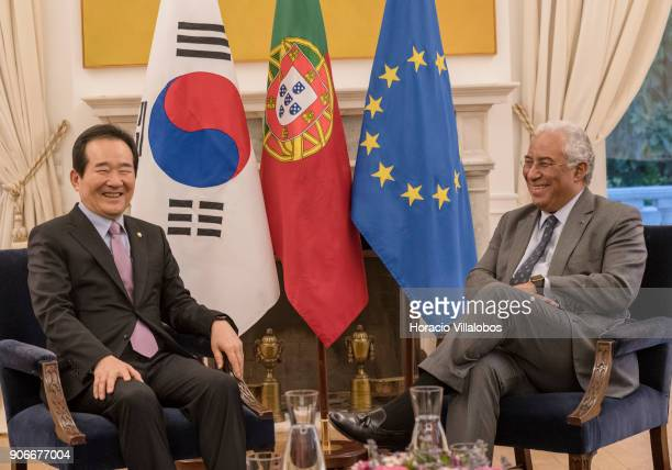 Portuguese Prime Minister Antonio Costa meets with the Speaker of the National Assembly of the Republic of Korea Chung Syekyun at Prime Minister's...