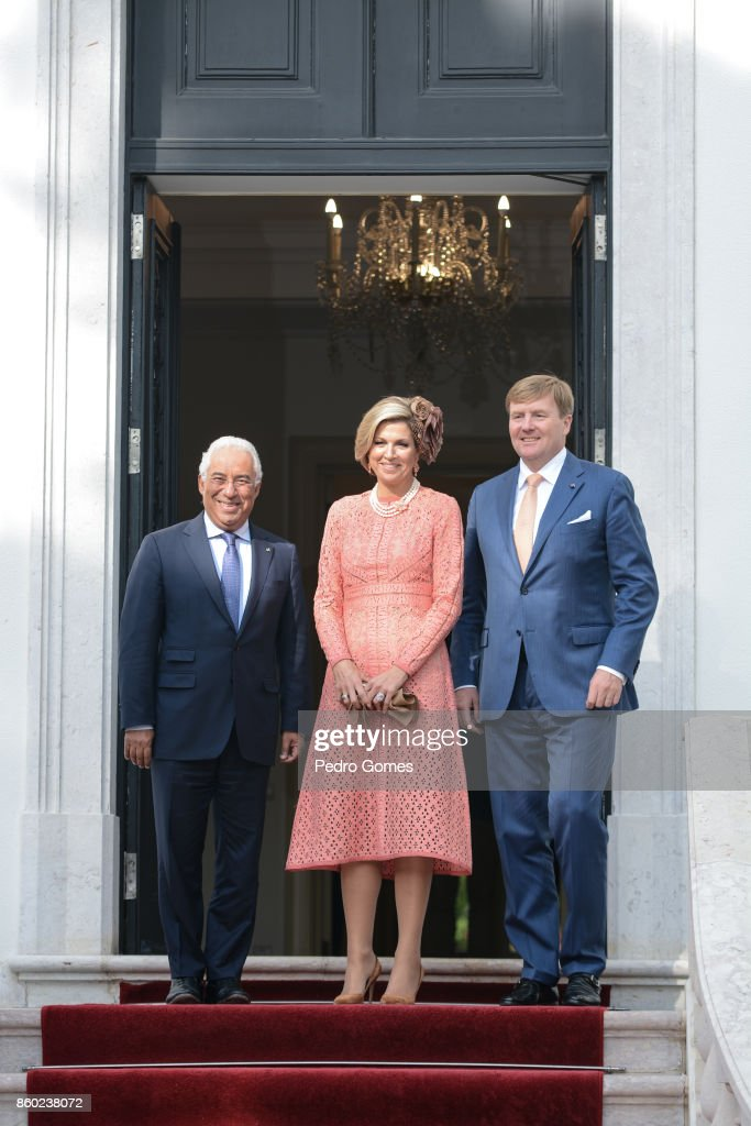 Portuguese Prime Minister Antonio Costa outside his official residence with Queen Maxima of The Netherlands and King Willem-Alexander of The Netherlands on October 11, 2017 in Lisboa CDP, Portugal.