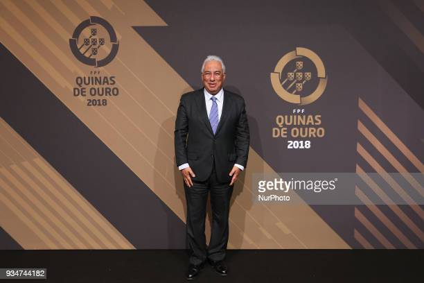 Portuguese Prime Minister Antonio Costa poses on arrival at 'Quinas de Ouro' 2018 ceremony held and the Pavilhao Carlos Lopes in Lisbon on March 19...