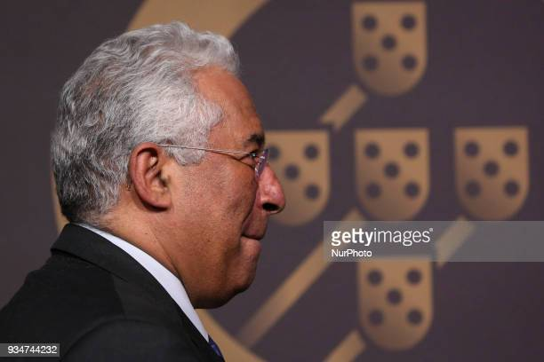 Portuguese Prime Minister Antonio Costa poses on arrival at 'Quinas de Ouro' ceremony held at Pavilhao Carlos Lopes in Lisbon on March 19 2018