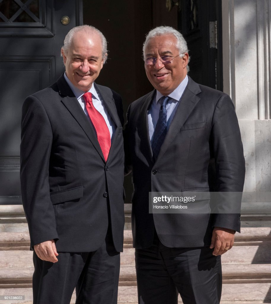 Portuguese Prime Minister Antonio Costa (R) receives Rui Rio (L), new president of PSD, main opposition party in an audience at Prime Minister's office on February 20, 2018 in Lisbon, Portugal. The Social Democratic Party (PSD) formally chose Rui Rio, who served as mayor of Porto, Portugal's second-largest city, between 2002-13, as its new leader at the XXXVII PSD National Congress on February 18.