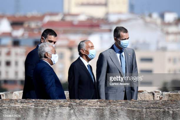Portuguese Prime Minister Antonio Costa, Spanish Prime Minister Pedro Sanchez, Portuguese President Marcelo Rebelo de Sousa and King Felipe of Spain...