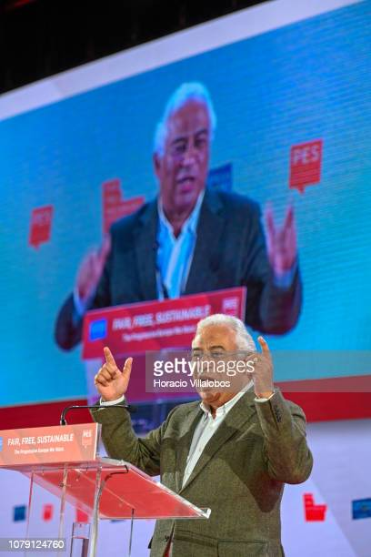 Portuguese Prime Minister Antonio Costa speaks at the Party of European Socialists PES Congress 2018 on December 08 2018 in Lisbon Portugal The XI...
