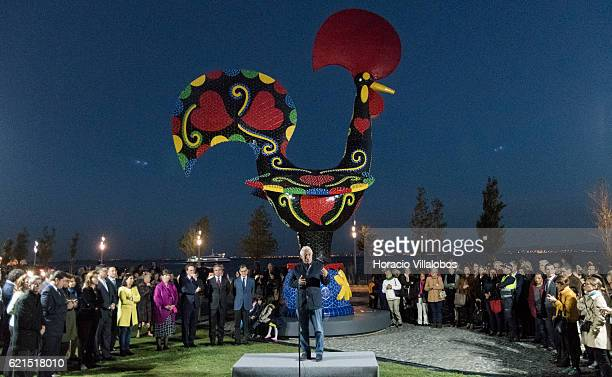 Portuguese Prime Minister Antonio Costa speaks during the inauguration of Pop Galo, public art work, of Portuguese artist Joana Vasconcelos, inspired...