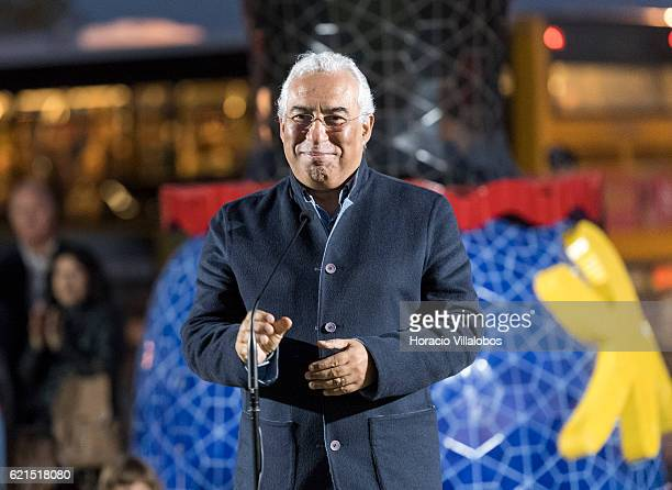 Portuguese Prime Minister Antonio Costa speaks during the inauguration of Pop Galo public art work of Portuguese artist Joana Vasconcelos inspired by...