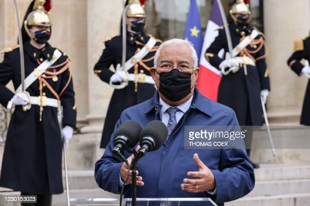 Portuguese Prime minister Antonio Costa speaks to the press as he arrives for a working lunch with French President at the Elysee presidential palace...