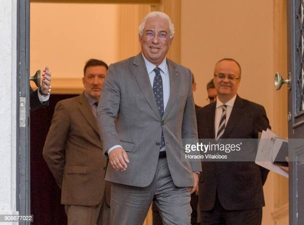 Portuguese Prime Minister Antonio Costa waits to greet the Speaker of the National Assembly of the Republic of Korea Chung Syekyun at Prime...