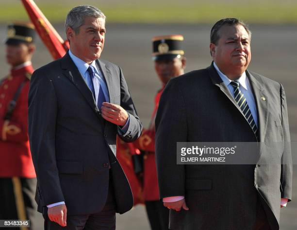 Portuguese Prime Minister Jose Socrates is seen next to El Salvador's Vice Foreign Minister Luis Montes upon his arrival to El Salvador's airport in...