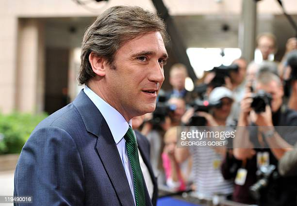 Portuguese Prime Minister Pedro Passos Coelho arrives for the EU summit on July 21 2010 at the European Council headquarters in BrusselsEurozone...