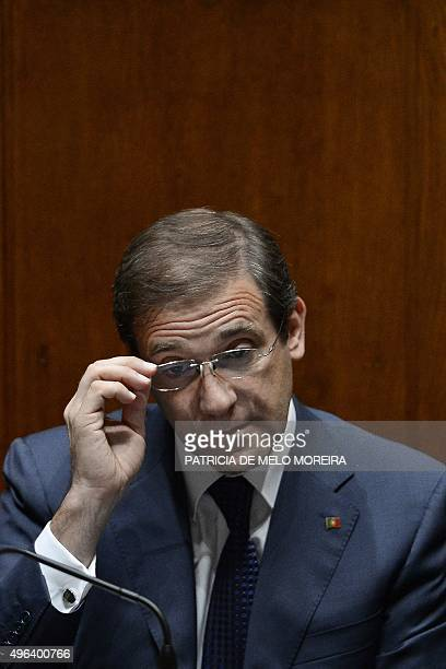 Portuguese Prime Minister Pedro Passos Coelho speaks during a debate at the Portuguese Parliament in Lisbon on November 9, 2015 where the Portuguese...