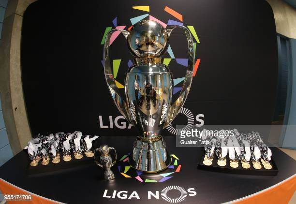 Portuguese Primeira Liga Champion trophy and medals before the start of the Primeira Liga match between FC Porto and CD Feirense at Estadio do Dragao...