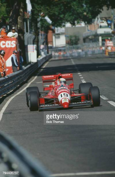 Portuguese racing driver Pedro Chaves drives the Mateus Cobra Motorsports Reynard 89D Ford Cosworth in the 1989 F3000 Birmingham Superprix in...