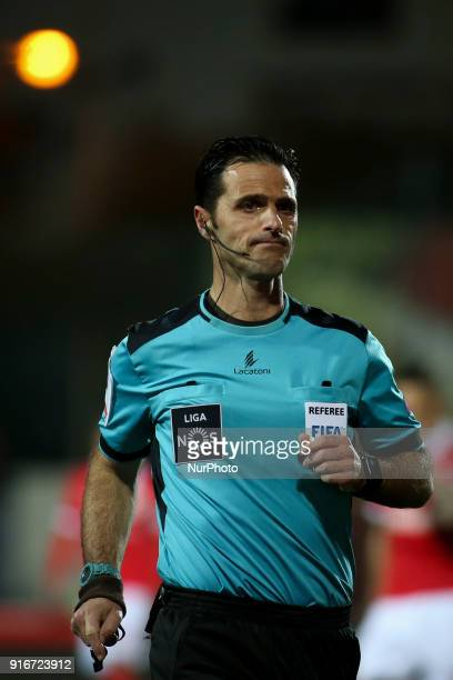 Portuguese referee Carlos Xistra in action during the Portuguese League football match between Portimonense SC and SL Benfica at Portimao Stadium in...