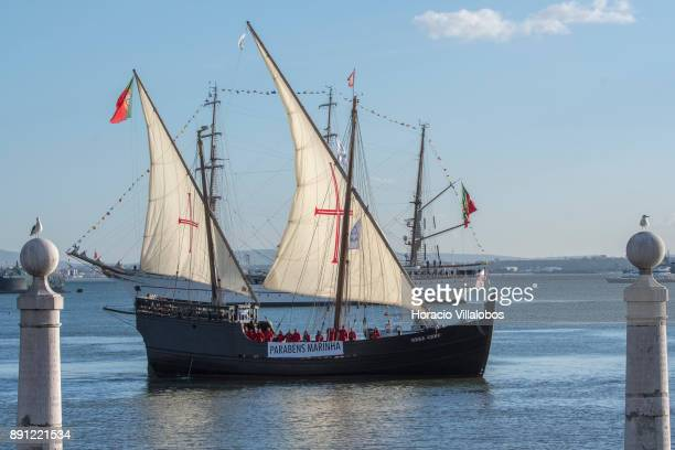 Portuguese replica of XV century caravel Vera Cruz sails the Tagus River during the commemoration day of the Portuguese Navy's 700th anniversary on...