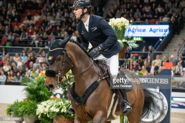 Portuguese rider Rodrigo Giesteira Almeida on CB Celine competes in the FEI World Cup Jumping event during the Gothenburg Horse Show at Scandinavium...