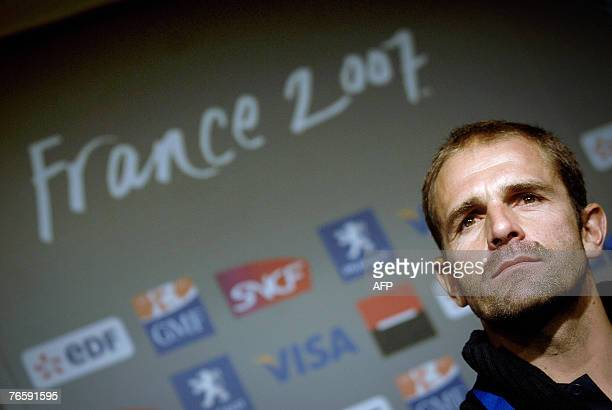 Portuguese rugby union national team coach Tomaz Morais gives a press conference, 08 September 2007 at Geoffroy Guichard Stadium in Saint Etienne, on...