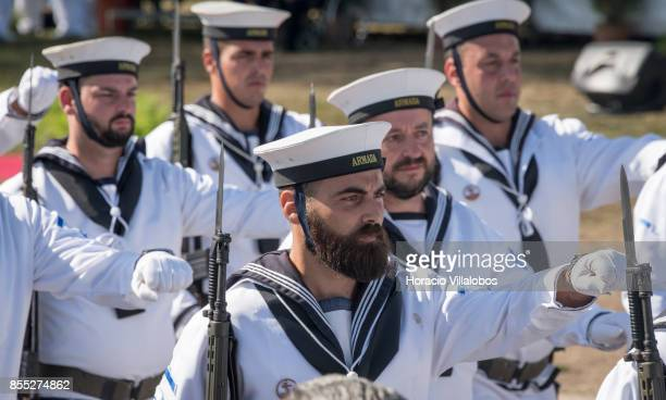 Portuguese sailors parade during the commemoration of the 100th anniversary of Portuguese Naval Aviation on September 28 2017 in Lisbon Portugal The...