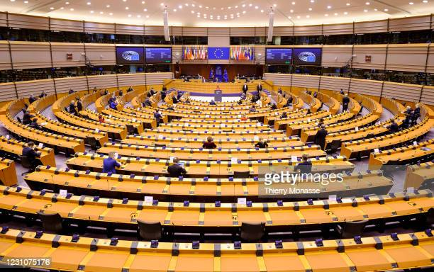 Portuguese Secretary of State for European Affairs Ana Paula Zacarias delivers a speech during a session of the European Parliament on February 10,...