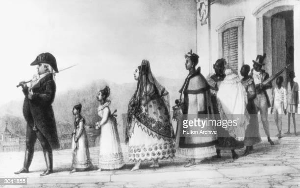 Portuguese settlers in Brazil circa 1820 A civil servant takes his family for a stroll in Rio de Janeiro From 'Voyage Pittoresque et Historique au...