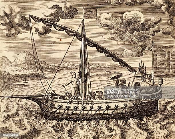 Portuguese ship off the coast of Malabar engraving from the voyages of Jan Huyghen van Linschoten India 16th century Lisbon Biblioteca Nacional