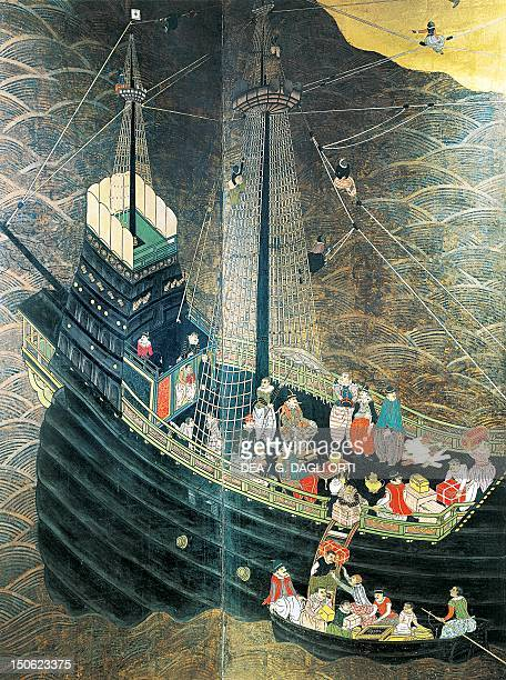 Portuguese ship uloading goods in Japan detail from a screen decoration attributed to Kano Domi Namban art Japan Japanese Civilisation 16th century
