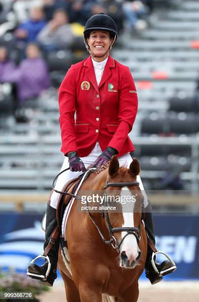 Portuguese show jumper Luciana Diniz on her horse Fit For Fun during the Show Jumping Team Event of the FEIEuropean Championships 2017 in...