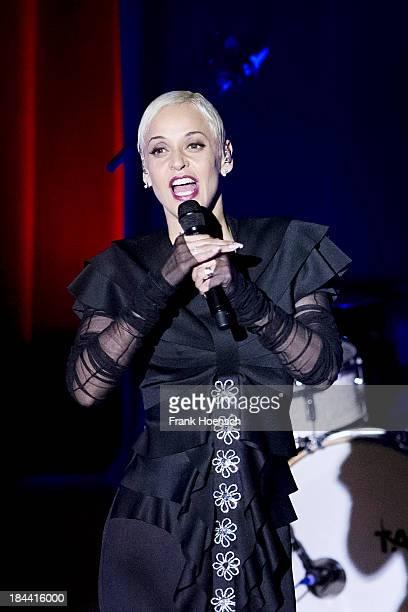 Portuguese singer Mariza performs live during a concert at the Haus der Kulturen der Welt on October 13 2013 in Berlin Germany