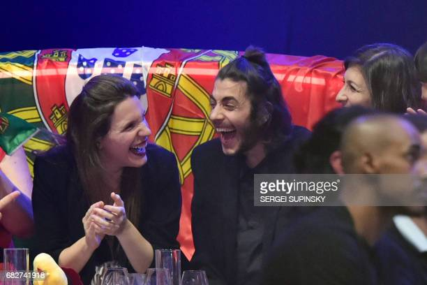 Portuguese singer representing Portugal with the song 'Amar Pelos Dios' Salvador Vilar Braamcamp Sobral aka Salvador Sobral reacts flanked by his...