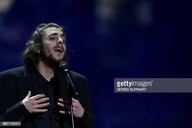 Portuguese singer representing Portugal with the song 'Amar Pelos Dios' Salvador Vilar Braamcamp Sobral aka Salvador Sobral performs during the final...
