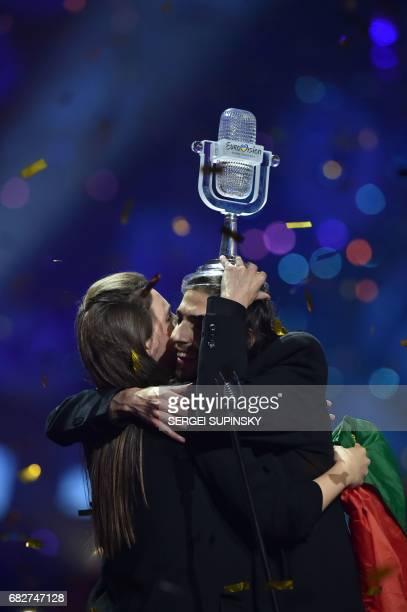 Portuguese singer representing Portugal with the song 'Amar Pelos Dios' Salvador Vilar Braamcamp Sobral aka Salvador Sobral holds the trophy as he...