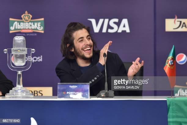 Portuguese singer representing Portugal with the song 'Amar Pelos Dios' Salvador Vilar Braamcamp Sobral aka Salvador Sobral applauds during a press...