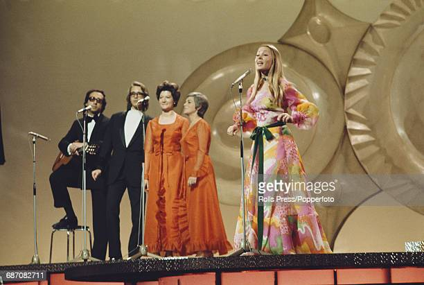 Portuguese singer Tonicha performs the song 'Menina do alto da serra' on stage for Portugal in the 1971 Eurovision Song Contest at the Gaiety Theatre...