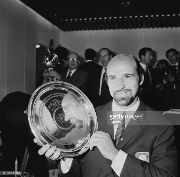 Portuguese soccer player Germano de Figueiredo with award for 'Good Sportsmanship' received after the 1966 Fifa World Cup UK 29th July 1966