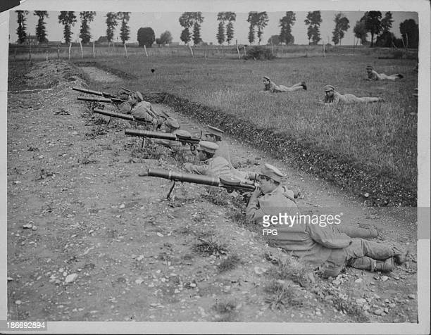 Portuguese soldiers carrying out Lewis gun drills on the Western Front during World War One France circa 19141919