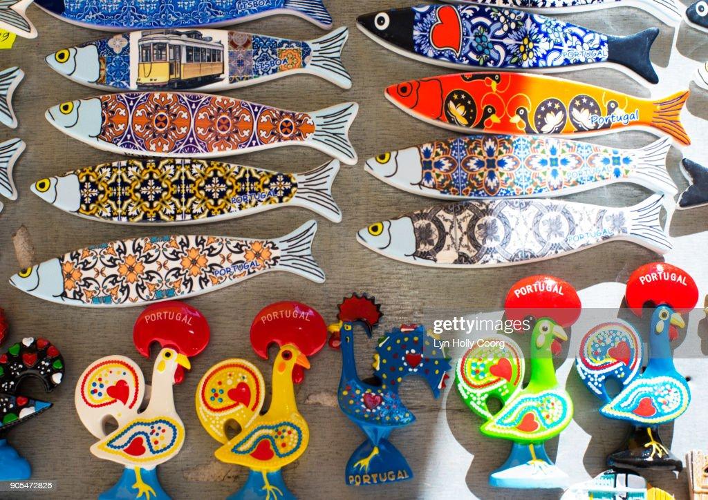 Portuguese souvenirs for sale in Lisbon Portugal : Stock Photo