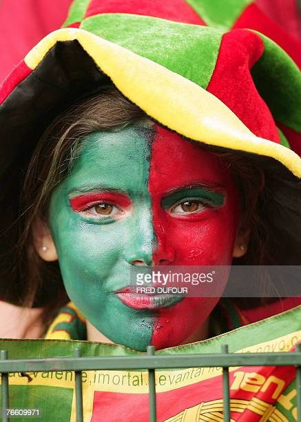 Portuguese team fan cheers as she prepares to watch her team challenge Scotland during the rugby union World Cup match Scotland vs Portugal, 09...