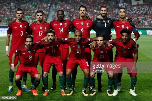 Portuguese Team lineup with Pepe Andre Silva William Carvalho Jose Fonte Rui Patricio Joao Moutinho Bernardo Silva Joao Mario Cedric Soares Eliseu...