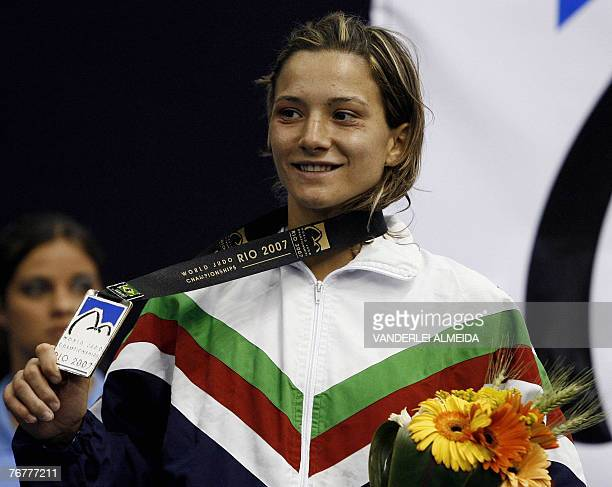 Portuguese telma Monteiro celebrates on the podium after the women's 52kg category finals at the 25th World Judo Championships in Rio de Janeiro 15...
