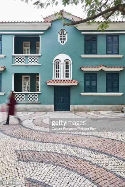 Portuguese tiles covering old plaza, Macau